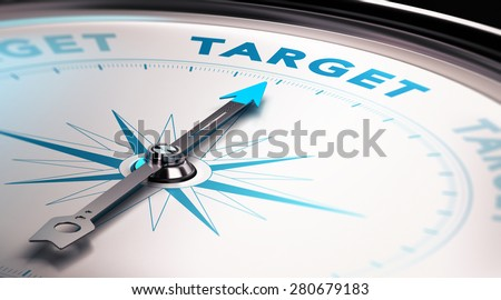 Compass needle pointing the word target, Concept of advertisement or target audience - stock photo