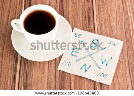Compass on a napkin and cup of coffee - stock photo