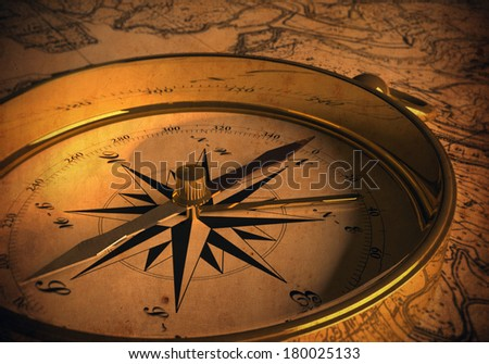Compass on map (3D rendering) Old Version - stock photo