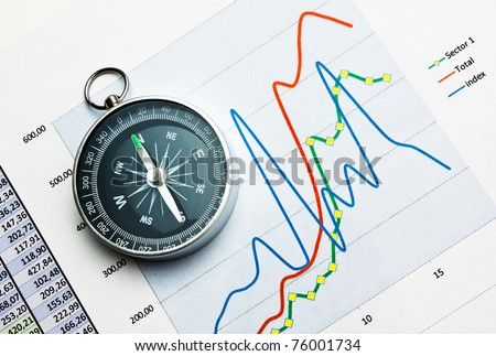 compass on paper work with diagram - stock photo