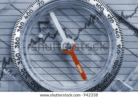 Compass on top of financial graph - stock photo