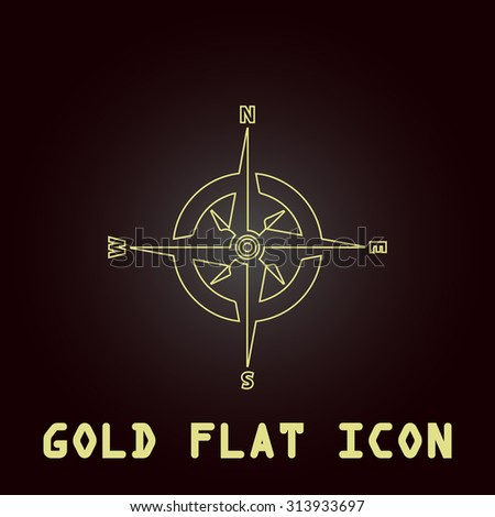 Compass. Outline gold flat pictogram on dark background with simple text. Illustration trend icon - stock photo