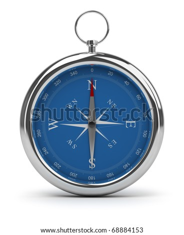Compass pointing to North. 3d image. Isolated white background. - stock photo