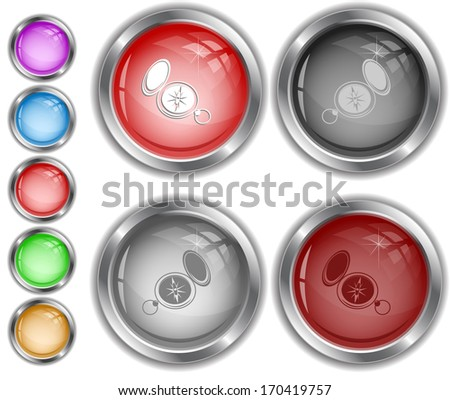 Compass. Raster internet buttons.  - stock photo
