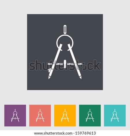Compass. Single flat icon. - stock photo