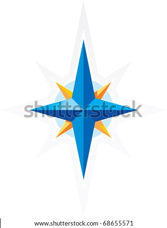 Compass wind-rose. Blue and orange star on white background. Raster version. Vector version is also available. - stock photo
