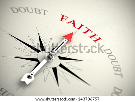Compass with arrow pointing to the word faith. 3D render image suitable for religion or self confidence concept - stock photo