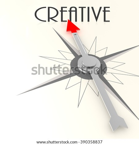 Compass with creative word image with hi-res rendered artwork that could be used for any graphic design. - stock photo