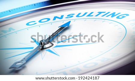 Compass with needle pointing the word consulting, blur effect and blue tones. Concept illustration of consultancy - stock photo
