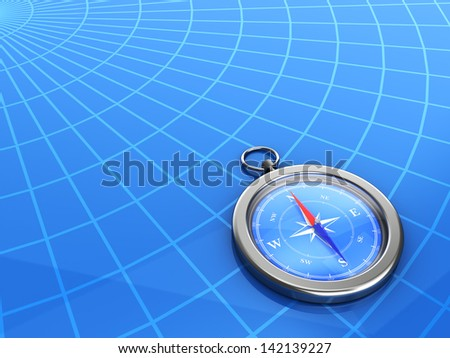 compass with the latitude and longitude lines on background - stock photo