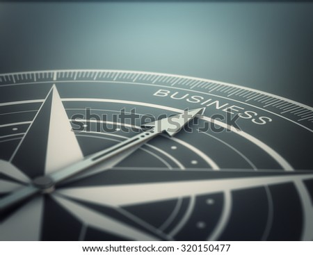 Compass with the needle pointing the word business, black background. Conceptual realistic 3D render image with depth of field blur effect. Concept for business solutions. - stock photo