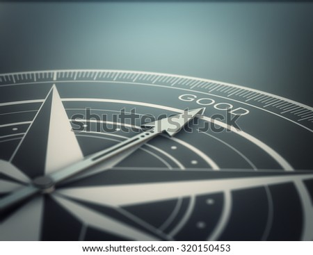 Compass with the needle pointing the word good, black background. Conceptual realistic 3D render image with depth of field blur effect. Concept for business solutions. - stock photo