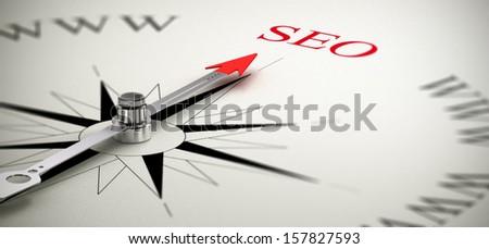 Compass with the needle pointing the word SEO, Search Engine Optimization concept image. - stock photo