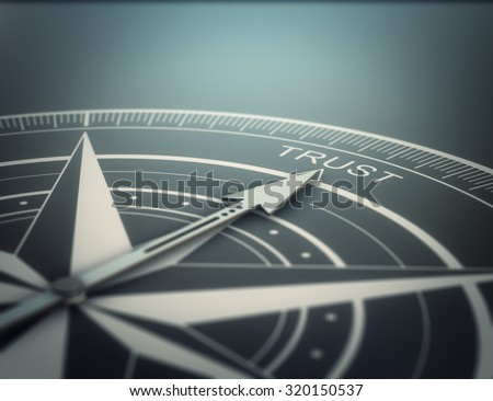 Compass with the needle pointing the word trust, black background. Conceptual realistic 3D render image with depth of field blur effect. Concept for business solutions. - stock photo