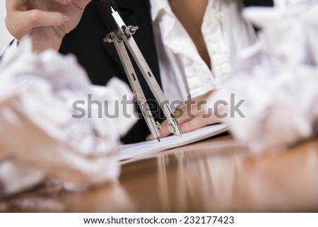 compasses papers - stock photo