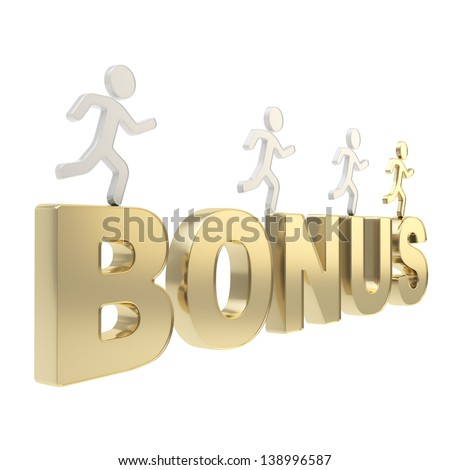 Compete for your bonuses conception: group of human symbolic figures running over the golden word Bonus isolated on white background - stock photo