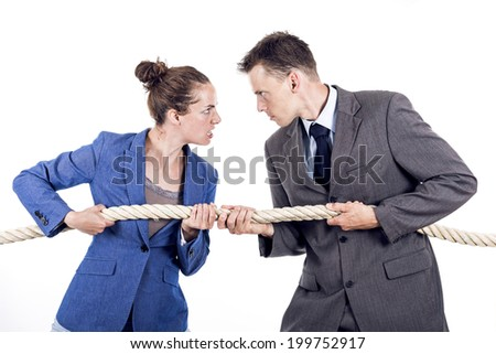 Competition between man and woman - stock photo