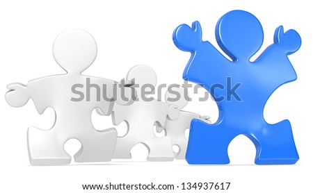 Competition. Puzzle People x4 running. Blue winner. - stock photo