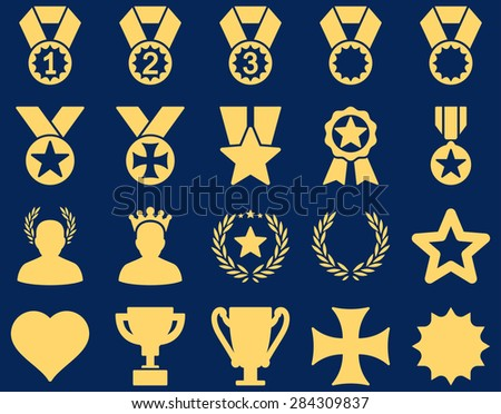 Competition & Success Bicolor Icons. This icon set uses yellow color, rounded angles, blue background. - stock photo