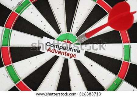 Competitive Advantage Concept and a dart in a center of target - stock photo