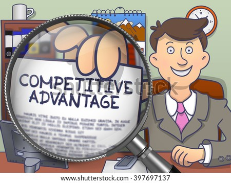 Competitive Advantage on Paper in Business Man's Hand to Illustrate a Business Concept. Closeup View through Magnifier. Multicolor Doodle Illustration. - stock photo