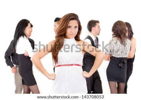 Competitive angry businesswoman in the office - stock photo