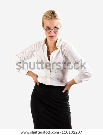 Competitive business woman on white - stock photo