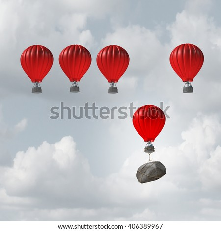 Competitive struggle and business disadvantage or disability concept as a group of 3D illustration hot air balloons racing to the top but a laggard attached to a heavy rock boulder struggling. - stock photo