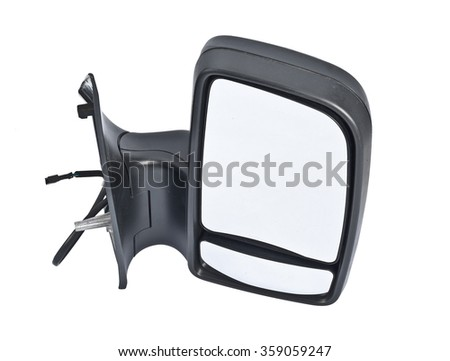 complete car side mirrors isolated on white background - stock photo
