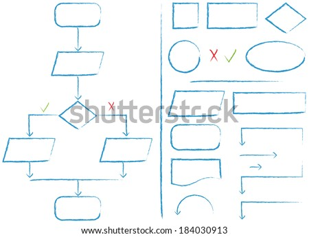 Complete flow chart and flow chart elements in a sketch style - stock photo