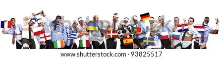 Complete group of injured businessmen with flags in Euro cup 2012 - stock photo