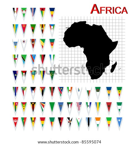 Complete set of African flags and map, isolated and grouped objects over white background - stock photo