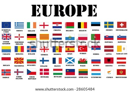complete set of all official european flags - stock photo