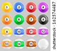 Complete set of American pool ball illustrations  - stock photo