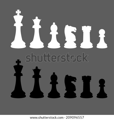 Complete set of vector silhouettes chess pieces (Vector version is also available in my portfolio, ID 178221305) - stock photo