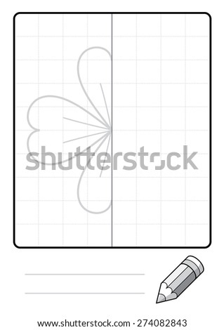 Complete the Symmetrical Drawing: Four Leaf Clover (single page drawing task) - stock photo