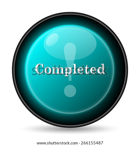 Completed icon. Internet button on white background.  - stock photo