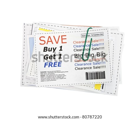 Completely fake store coupons.  Fictional bar codes.  All coupons were created by the photographer.  No real ads were used. - stock photo