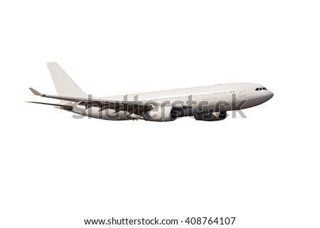 Completely white passenger plane. A side view of wide-body aircraft. - stock photo