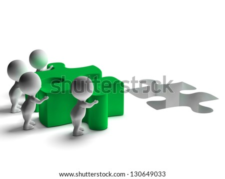 Completing Jigsaw Shows Solving Completing Or Achievement - stock photo