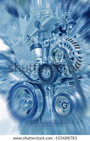 Complex engine of modern car interior view - stock photo