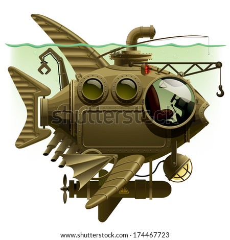 complex fantastic submarine in the form of fish with machinery, equipment and armament. Steampunk style design - stock photo
