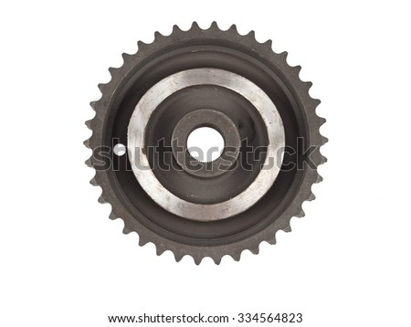 complex metal sprocket isolated on white - stock photo