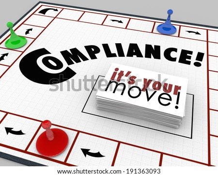 Compliance Board Game Follow Rules Guidelines Laws - stock photo