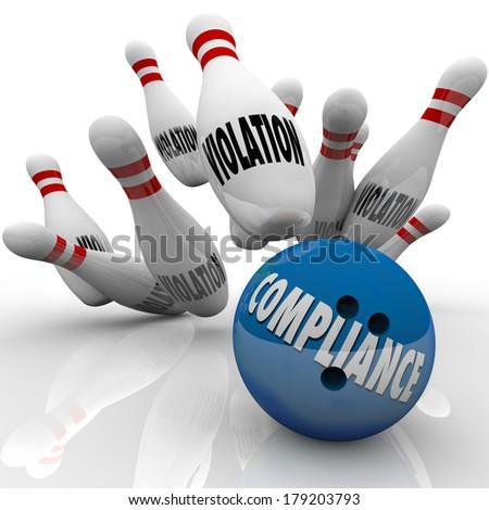 Compliance Bowling Ball Strike Violation Pins Win Game - stock photo
