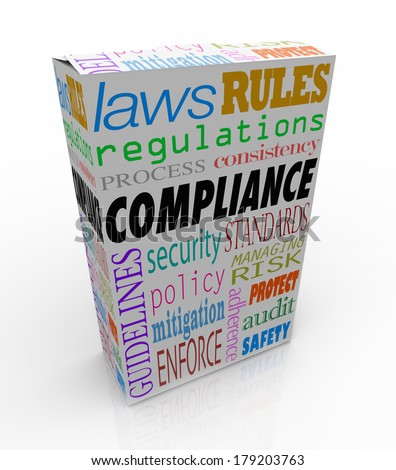 Compliance Product Box Package Follow Safety Regulations Rules  - stock photo