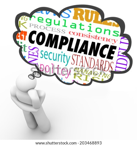 Compliance thought cloud thinking person regulations, rules, laws, guidelines, policy - stock photo