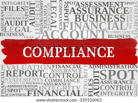 COMPLIANCE word cloud, business concept - stock photo