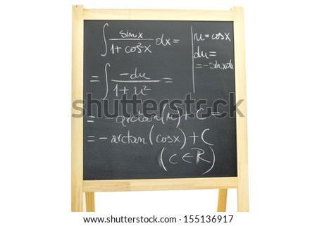 Complicated trigonometry equation written on black board. Isolated over white background. - stock photo