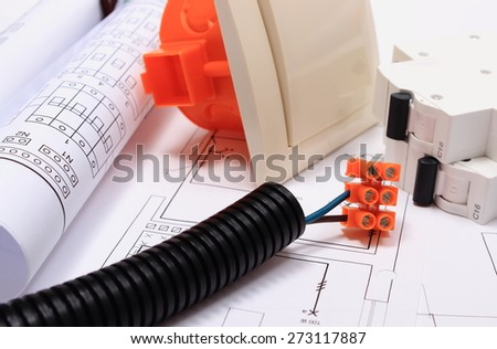 Components for use in installations and electrical diagrams, copper wire connections, accessories for engineering work, energy concept - stock photo